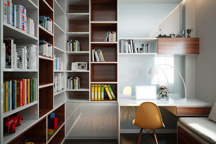 Ngắm Nhìn Nhà Phố 4 Tầng 4x15m Đẹp Vạn Người Mê:  Phòng học/Văn phòng by Công ty TNHH Thiết Kế Xây Dựng Song Phát