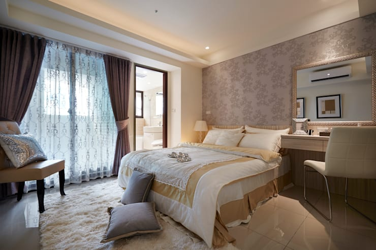 透過奢華風呈現寬敞大器:  臥室 by 雅和室內設計