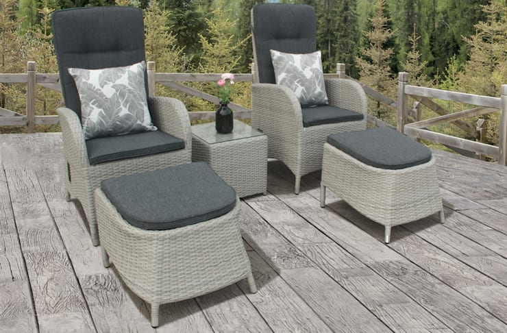 Rattan bistro set with footstools:  Garden  by Garden Centre Shopping UK