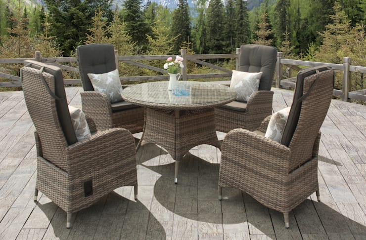 Rattan dining set with reclining chairs:  Garden  by Garden Centre Shopping UK