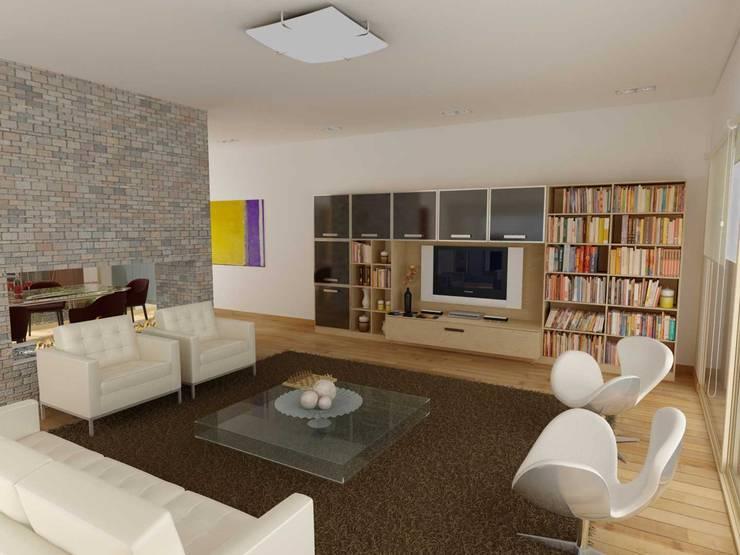 RENDERS INTERIORES DE VIVIENDA EN PILAR: Livings de estilo  por Javier Figueroa 3D