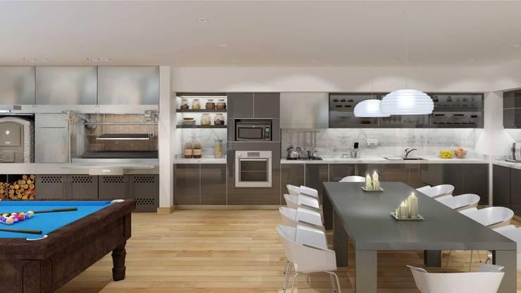 RENDERS INTERIORES DE VIVIENDA EN PILAR: Cocinas de estilo  por Javier Figueroa 3D