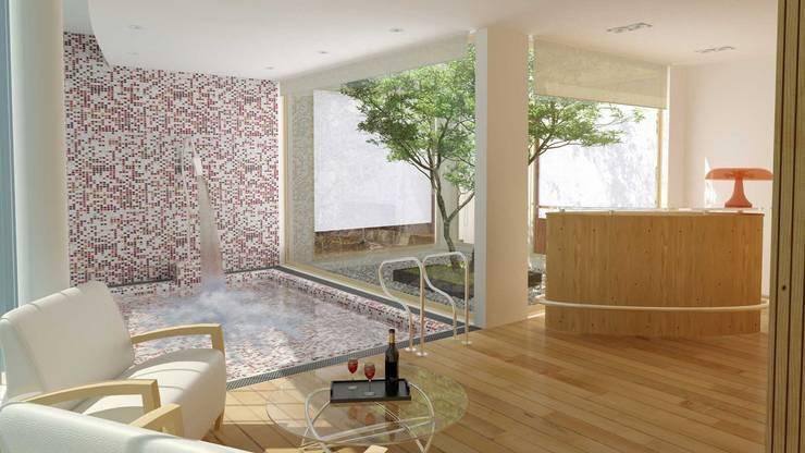 RENDERS INTERIORES DE VIVIENDA EN PILAR: Pasillos y recibidores de estilo  por Javier Figueroa 3D