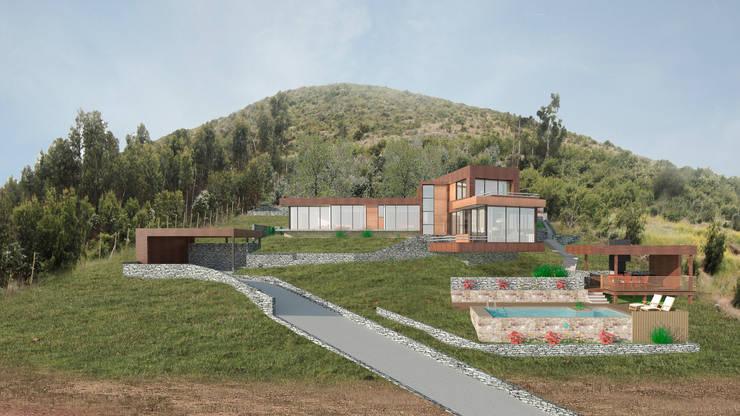 Vista frontal: Casas de estilo  por Uno Arquitectura