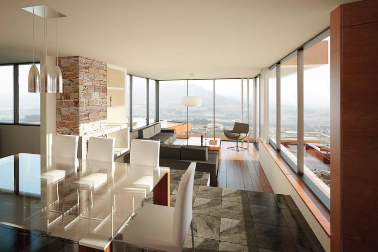 Living y comedor.: Livings de estilo moderno por Uno Arquitectura