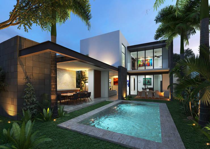Fachada Posterior: Terrazas de estilo  por Heftye Arquitectura