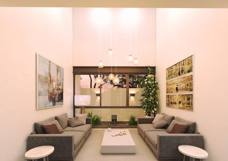 Salas / recibidores de estilo  por Heftye Arquitectura