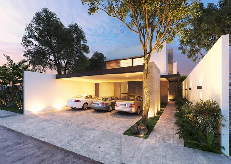 Fachada Principal: Garajes abiertos de estilo  por Heftye Arquitectura