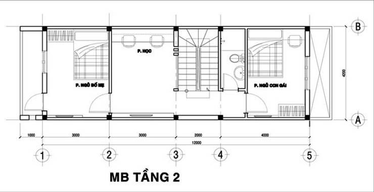 Tầng 2: là không gian của 2 phòng ngủ, phòng học/ phòng làm viêc và nhà vệ sinh chung.:  Nhà by Công ty TNHH Xây Dựng TM – DV Song Phát