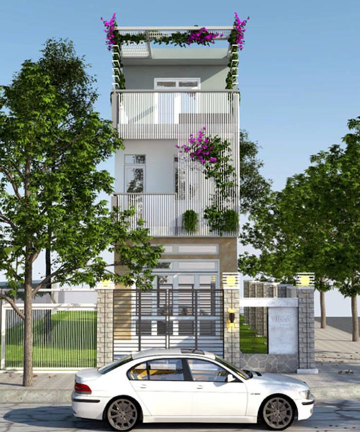 Thiết kế mặt tiền nhà 3 tầng mang phong cách hiện đại:  Nhà by Công ty TNHH Xây Dựng TM – DV Song Phát