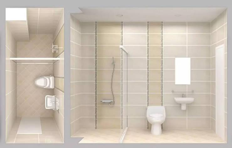 Tư Vấn Thiết Kế Nhà Ống 3 Tầng 67m2 Hiện Đại, Đầy Tiện Nghi:  Phòng tắm by Công ty TNHH Xây Dựng TM – DV Song Phát