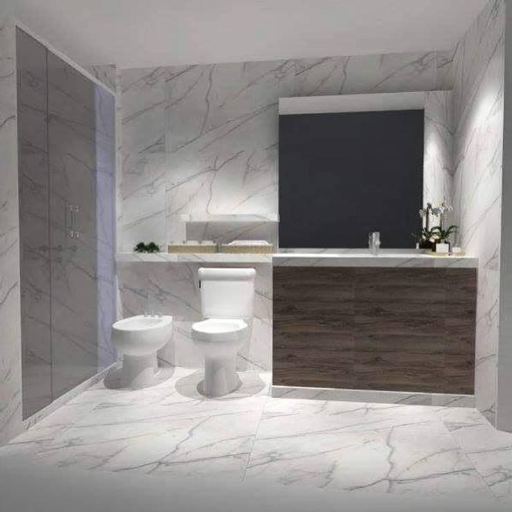 Remodelación Baño principal : Paredes y pisos de estilo  por M2 Arquitectura,