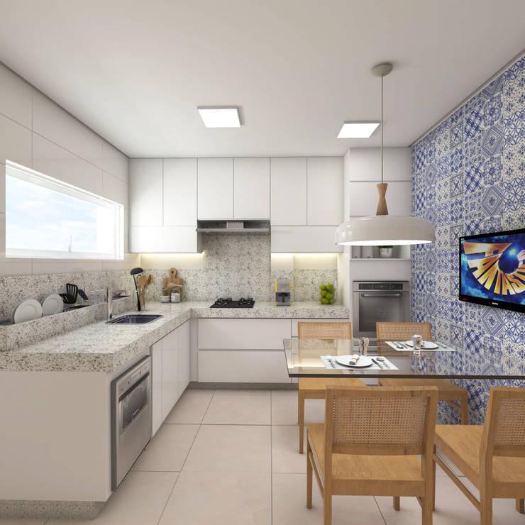 Cozinha clean e funcional, mas aconchegante: Armários e bancadas de cozinha  por Luciane Veiga Arquitetura