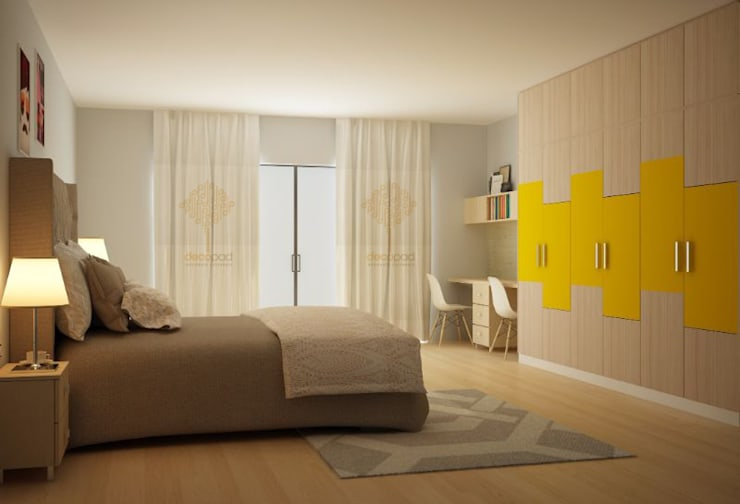Natural Colour Wardrobe:  Bedroom by Decopad Interiors,