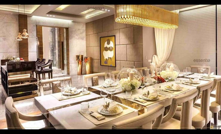 Farmhouse in Kundli - Lighting:  Dining room by Jainsons Emporio,Modern Copper/Bronze/Brass