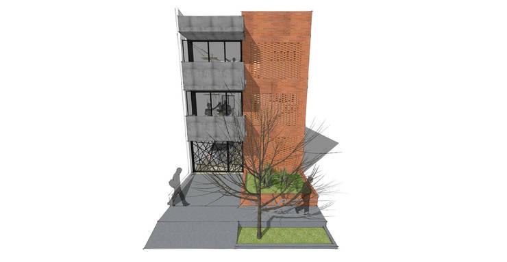 Fachada Edificio Multifamiliar_Ciudad Modelo: Casas multifamiliares de estilo  por MODOS Arquitectura, Minimalista