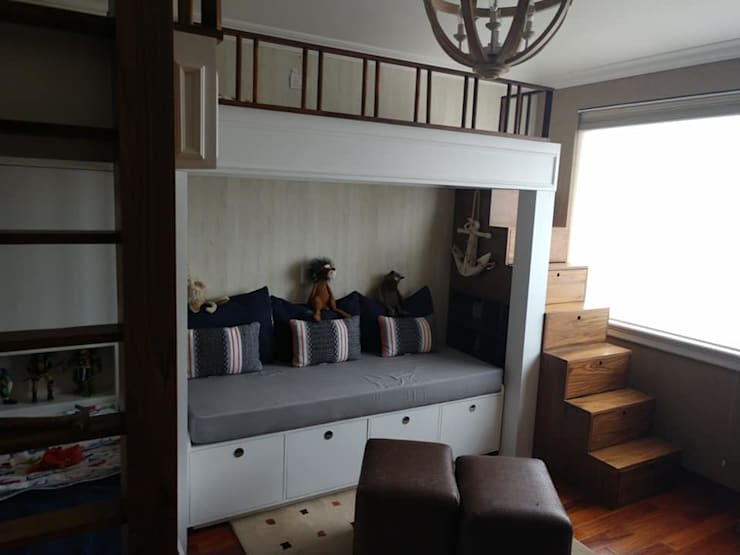 cama barco: Habitaciones infantiles de estilo  por Divan ingenieria