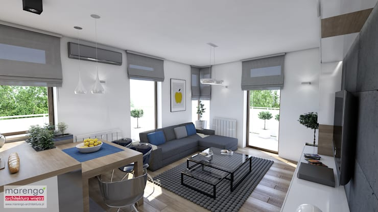 Living room by MARENGO ARCHITEKTURA WNĘTRZ, Modern