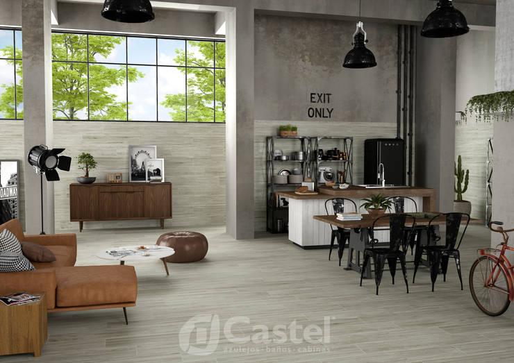 Porcelanato Balau / Castel: Oficinas y tiendas de estilo  por Skyfloor