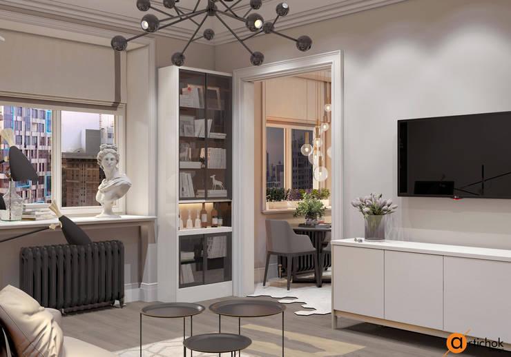 Совмещенная гостиная-кухня в современном стиле: Гостиная в . Автор – Art-i-Chok