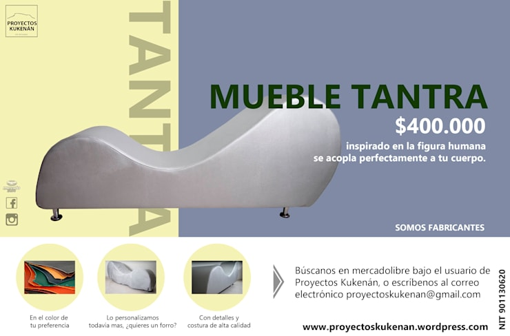 Banner mueble tantra : Dormitorios de estilo  por Proyectos Kukenán SAS