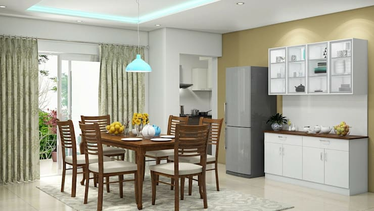 Dining area:   by Aamuktha Designs