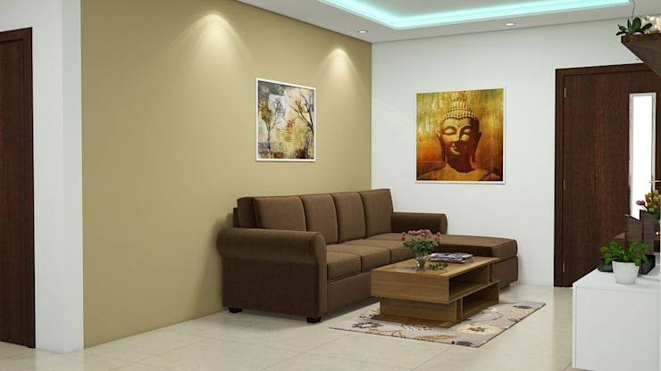 Living room:   by Aamuktha Designs
