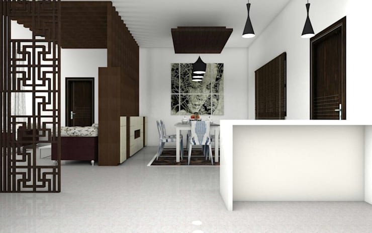 Interiors:  Dining room by Kruthi Interiors