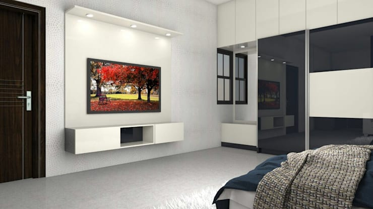 Interiors:  Living room by Kruthi Interiors