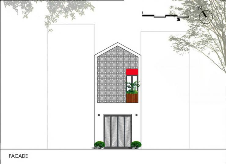 Mặt tiền ngôi nhà phố đẹp.:  Nhà gia đình by Công ty TNHH Thiết Kế Xây Dựng Song Phát