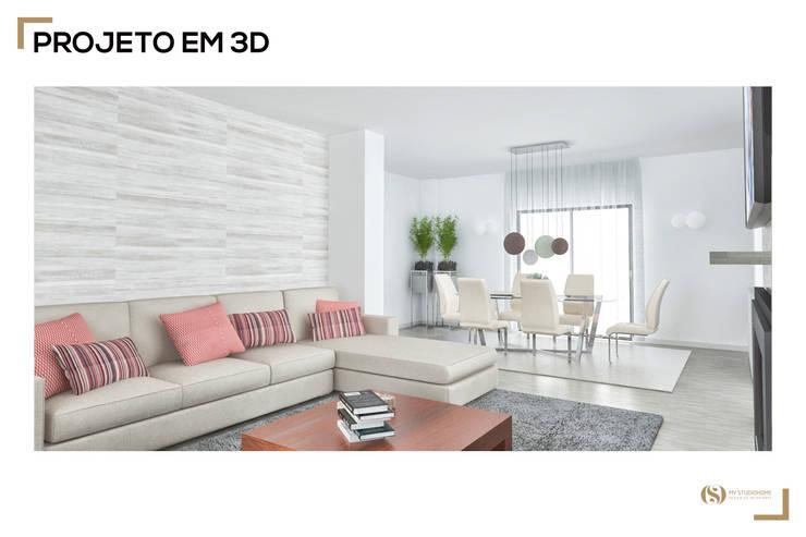 Remodelação da Sala: Salas de estar  por MyStudiohome - Design de Interiores