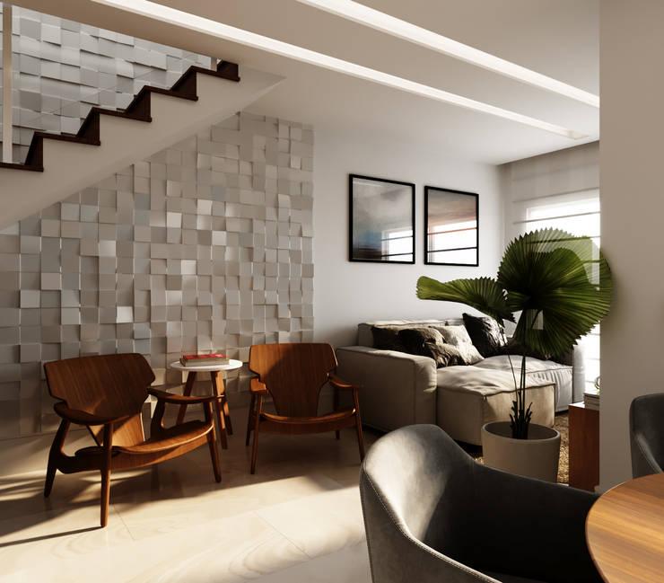 Living room by Fabíola Escobar - Pratique Arquitetura