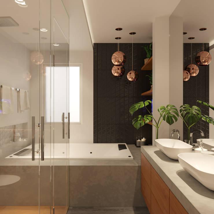 Baños de estilo  por Fabíola Escobar - Pratique Arquitetura