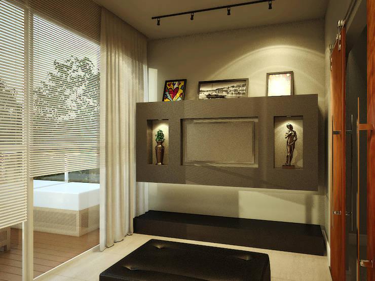 Casa G+B: Salas multimídia  por Fabíola Escobar - Pratique Arquitetura