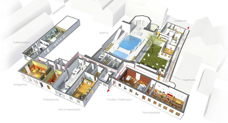 Herbestemming Tivoli:  Gezondheidscentra door NOHNIK architecture and landscapes, Modern