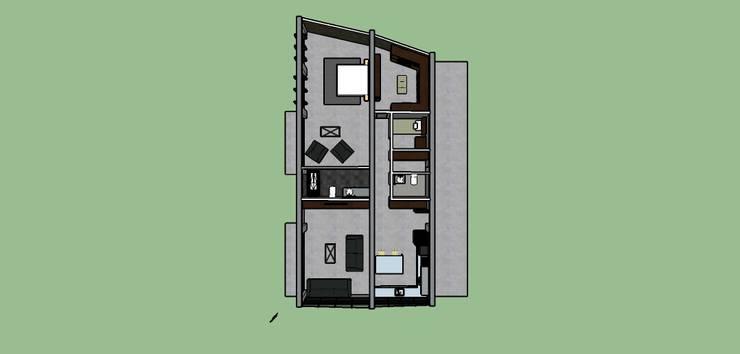 Vista area de la propuesta: Casas unifamiliares de estilo  por Proyectos Kukenán SAS