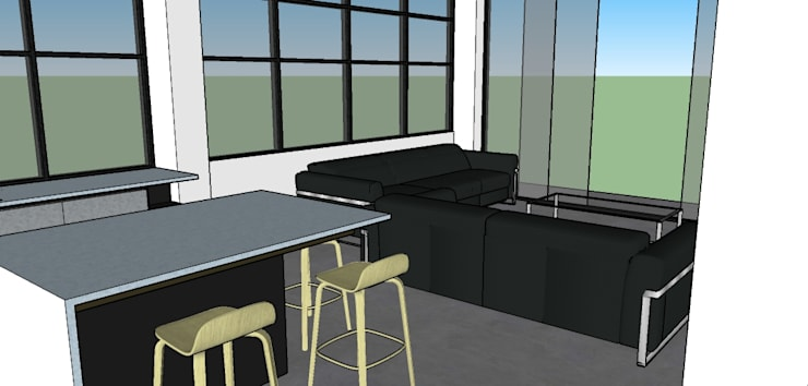 Vista parcial de la cocina: Cocinas integrales de estilo  por Proyectos Kukenán SAS