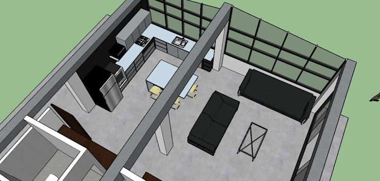 vista area cocina sala: Salas de estilo  por Proyectos Kukenán SAS