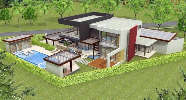 Diseño 3d casa/vivienda: Casas de estilo mediterraneo por Constructora ANyG