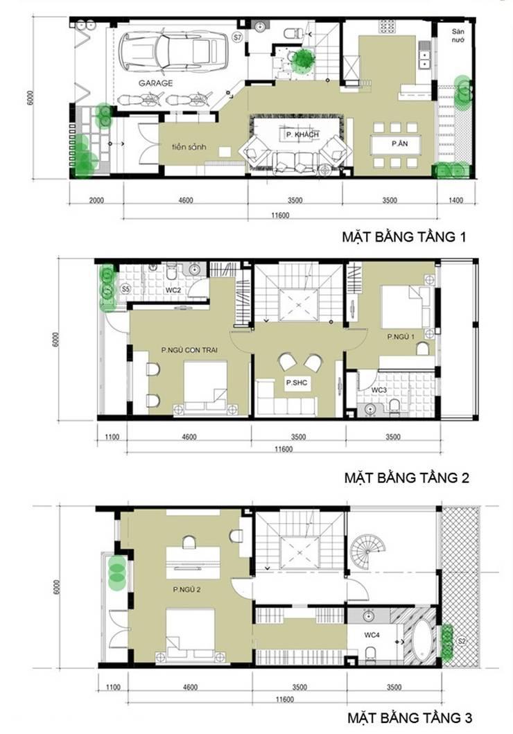 Casa unifamiliare in stile  di Công ty TNHH Xây Dựng TM – DV Song Phát