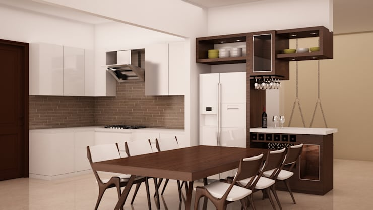Dining area fixed and loose furnitures: modern Dining room by NVT Quality Build solution