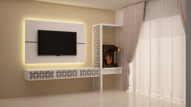 TV and Puja unit: modern Living room by NVT Quality Build solution