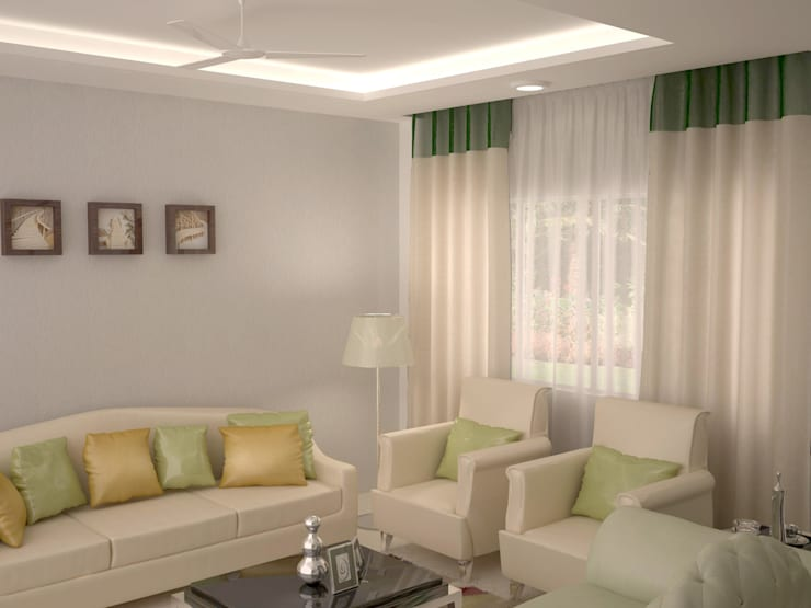 Pastel colour Concept seating area :  Living room by NVT Quality Build solution
