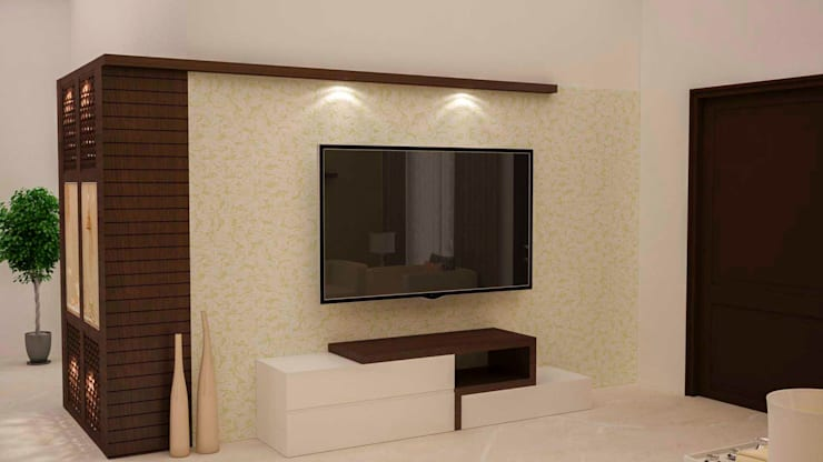 Home theater unit and wall paneling : modern Media room by NVT Quality Build solution