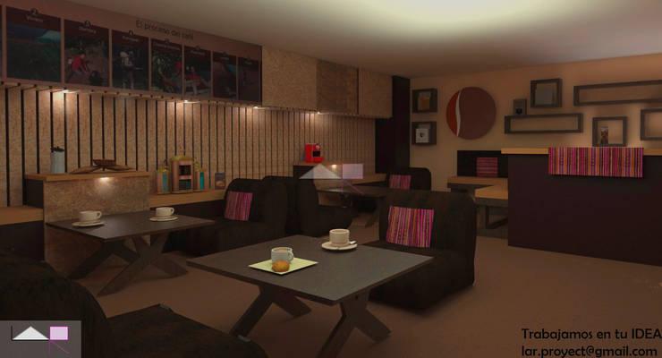 Vista 3d del segundo nivel: Tiendas y espacios comerciales de estilo  por LAR-Diseño y construcción