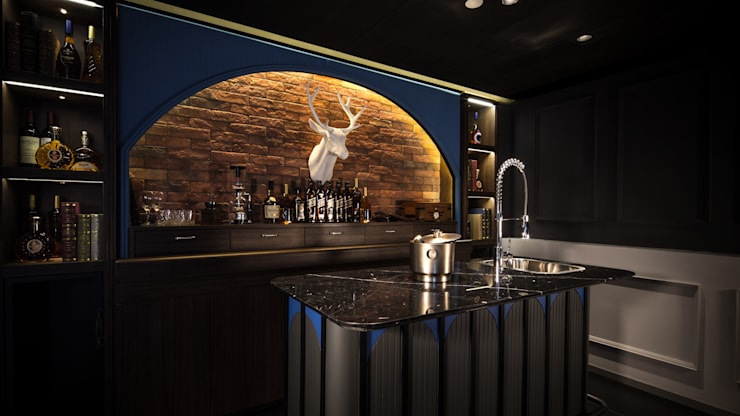 Private Club:  Walls & flooring by Artta Concept Studio