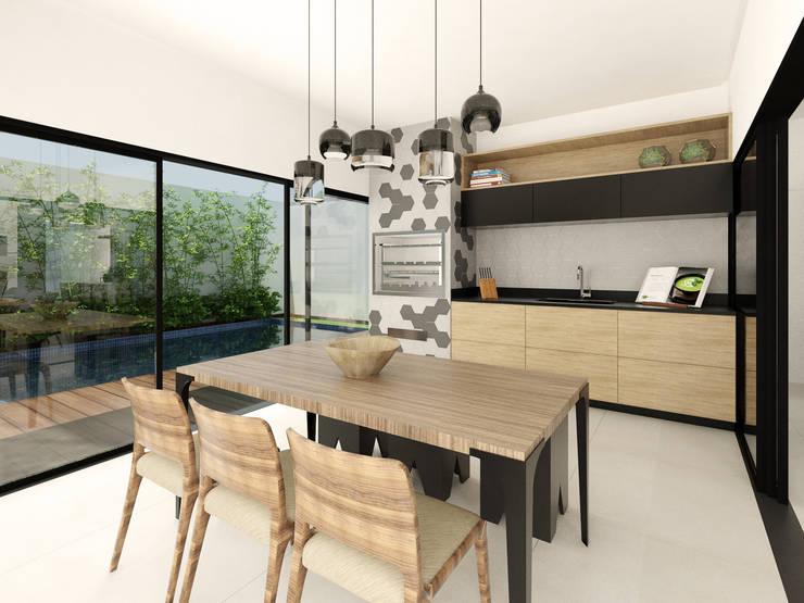 Residência Pq. Esplanada: Salas de jantar  por Isabela Notaro Arquitetura e Interiores