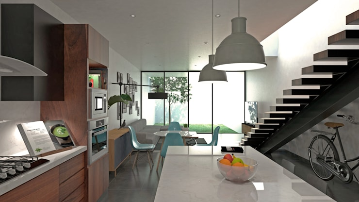 Cocina como área social: Cocinas equipadas de estilo  por Heftye Arquitectura