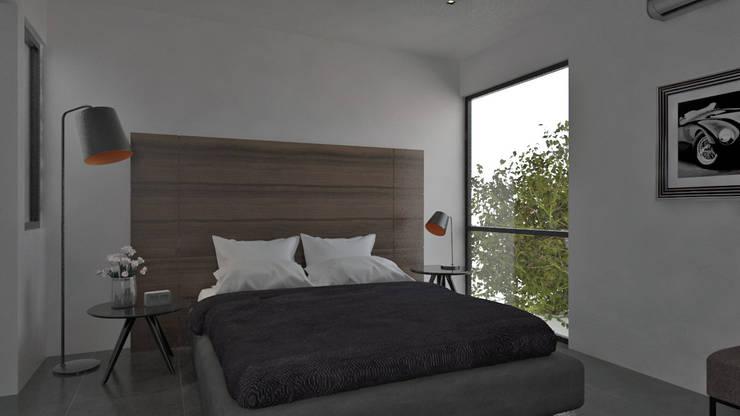 Recámara cálida y limpia.: Recámaras de estilo moderno por Heftye Arquitectura