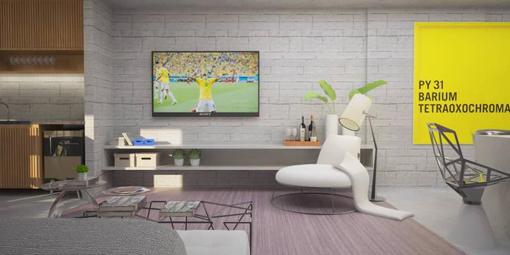 Living integrado com varanda gourmet : Salas de estar  por Semíramis Alice Arquitetura & Design
